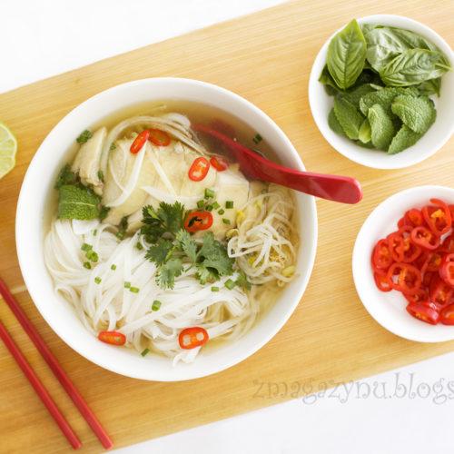 Wietnamska zupa pho z kurczaka
