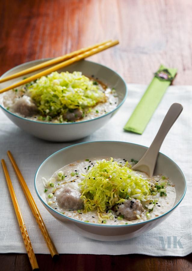 congee z klopsami kapusta pekinska sezam kleik ryzowy