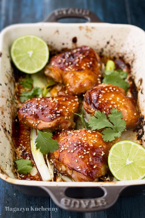 Udka z kurczaka pieczone z sosem sojowym