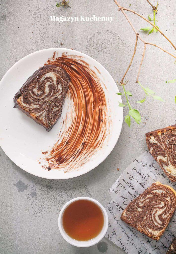 ciasto zebra z polewa czekoladowa