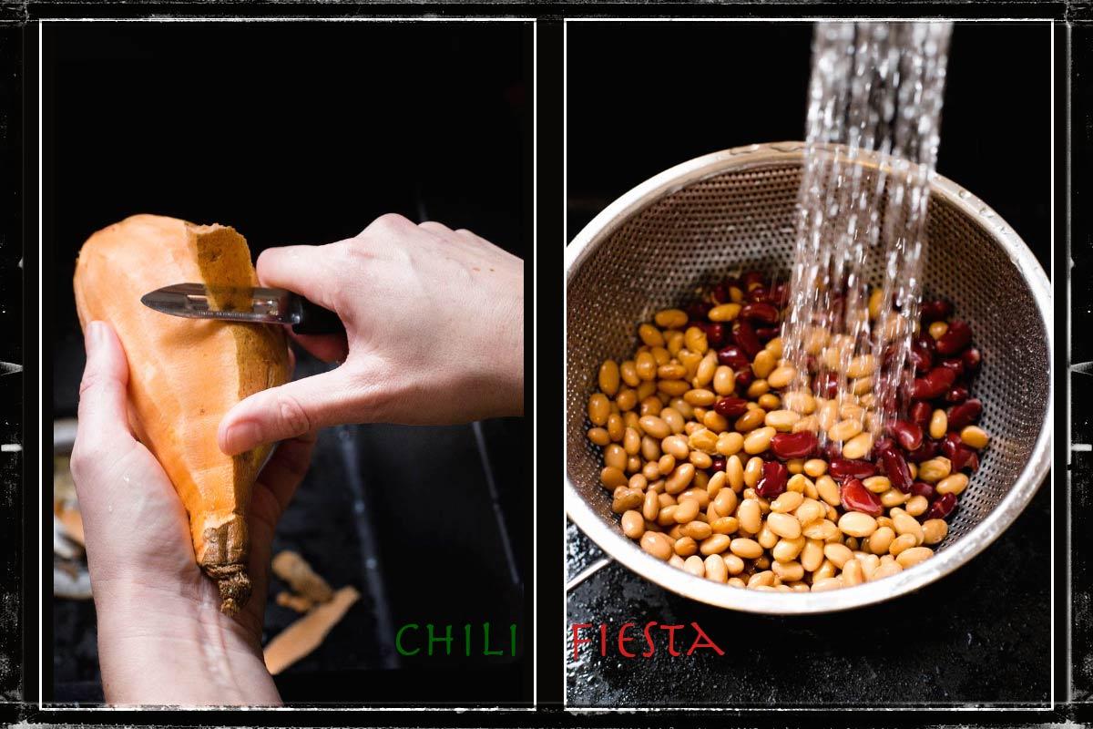 Składniki na chili wegetariańskie