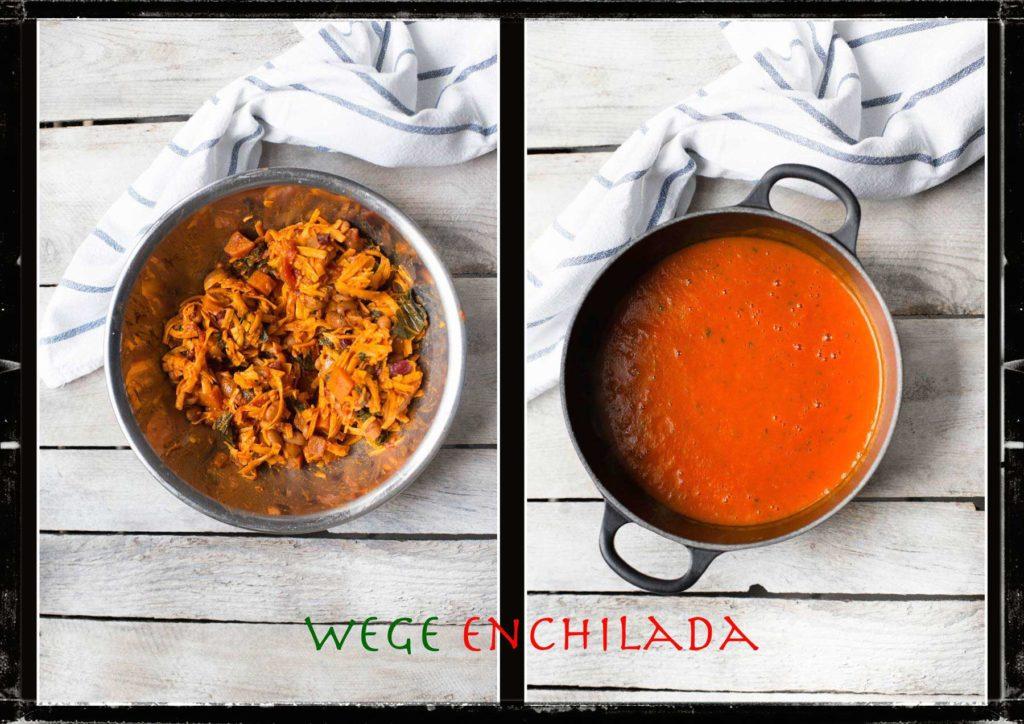 Enchilada wegetariańska, składniki - chili i sos