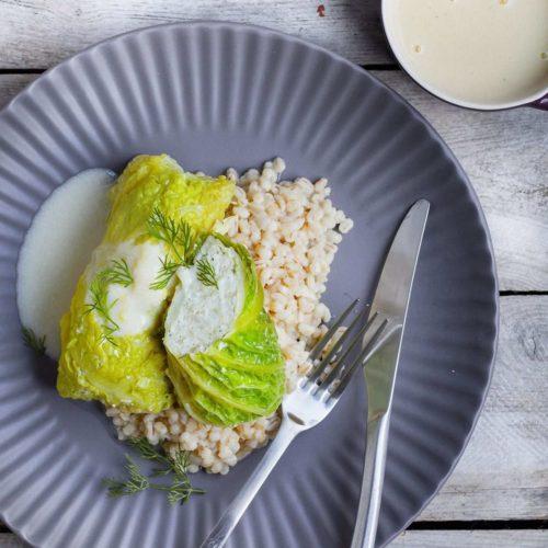 Gołąbki rybne z dorszem i ryżem