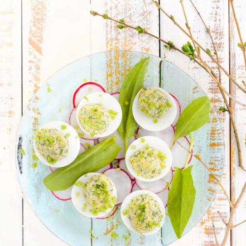 Jajka faszerowane szczawiem