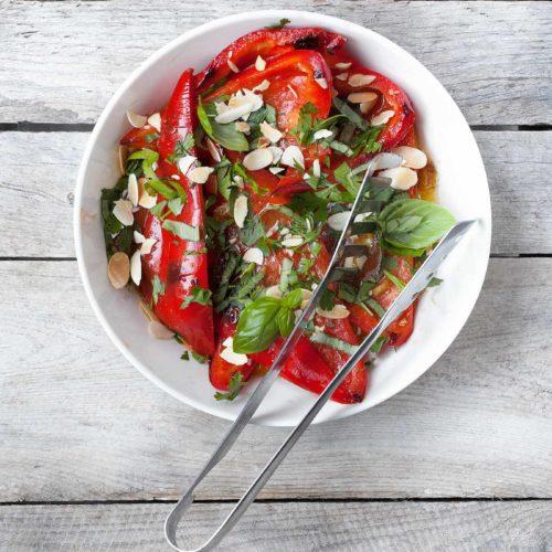 Papryka marynowana na szybko z oliwą, octem balsamicznym i ziołami