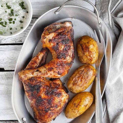 Kurczak w marynacie piwnej z grilla lub pieczony