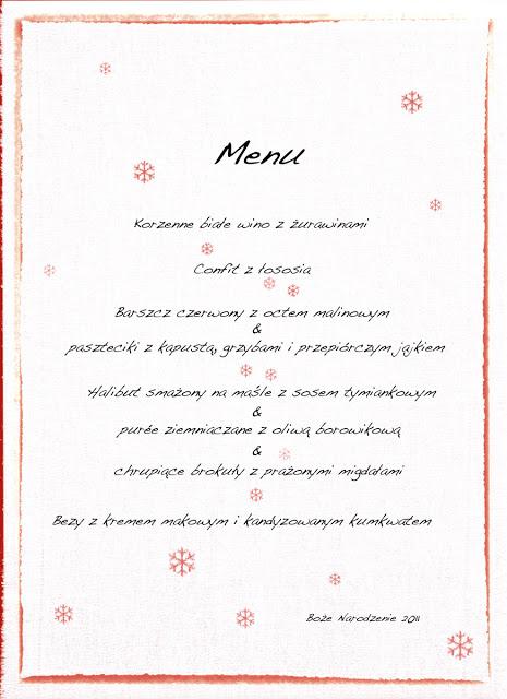 Świąteczne menu 2011. Potrawy na wigillię i Boże Narodzenie.