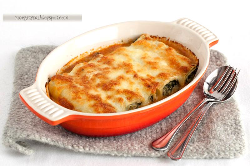 Naleśnikowe cannelloni z ricottą i szpinakiem