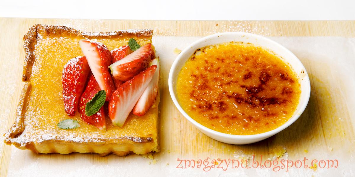 Tarta cytrusowa z truskawkami i cytrusowe brûlé