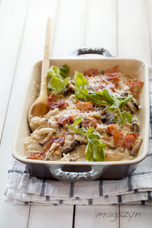 Zapiekane risotto z grzybami i boczkiem