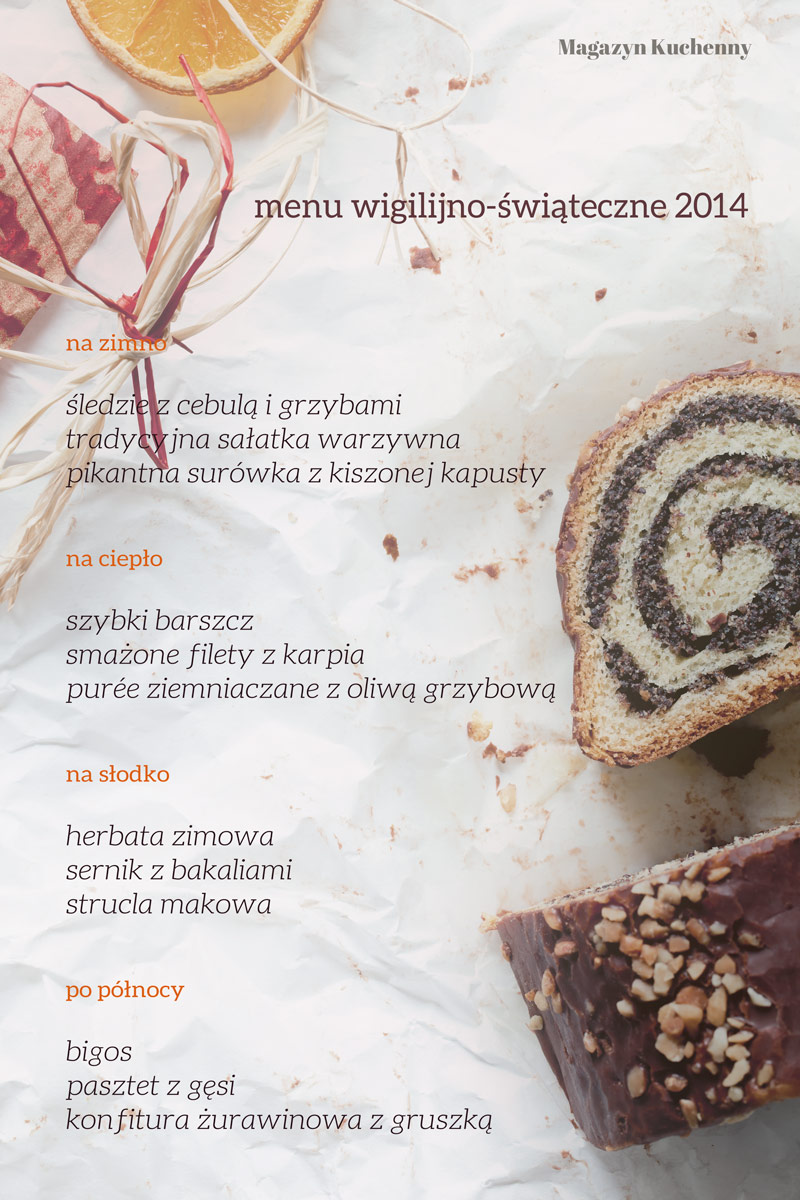 Wigilijne i świąteczne menu na święta 2014